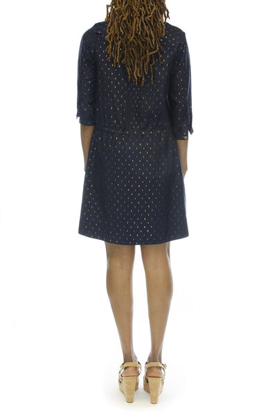Sea New York Pintucked Long Sleeve Dress Navy