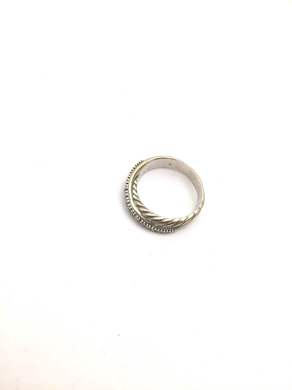 Silver Intertwined Crystal & Spiral Ring