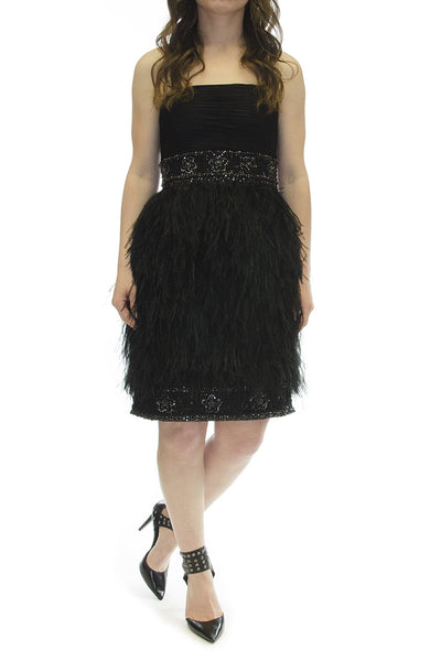 Suewong Nocture Deco Strapless Beaded Ostrich Feather Cocktail Evening Dress
