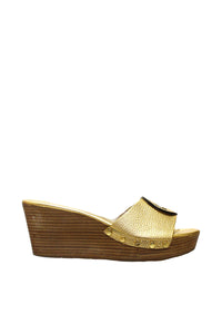 Tory Burch Gold Leather 'Selma' Wedge Sandal