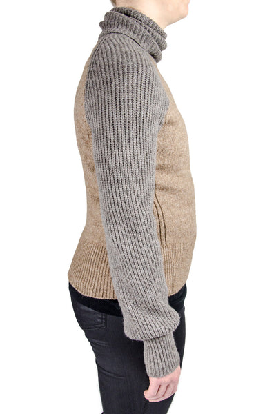 Tory Burch Grey Melinda Ribbed Turtleneck Sweater