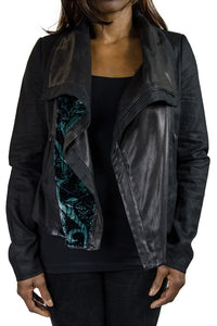 Vince. Velvet Flocked Moto Jacket