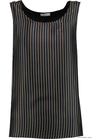 CLU Georgette-Paneled Striped Silk Top