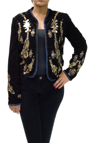 Zara Black Velvet Jacket with Sequin Design