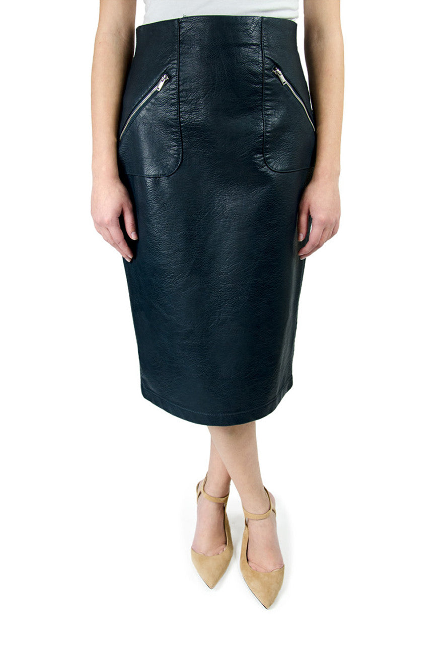 Zara Blue Vegan Leather Pencil Skirt