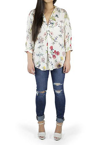 Zara Ivory Top with Multi-Floral Design