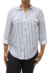 Zara Blue & White Striped Shirt