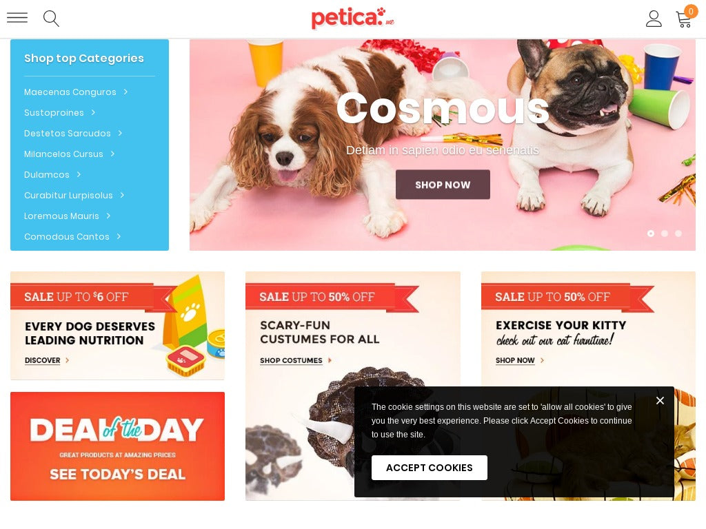 Pets Shopify Starter Dropship Ecommerce Website