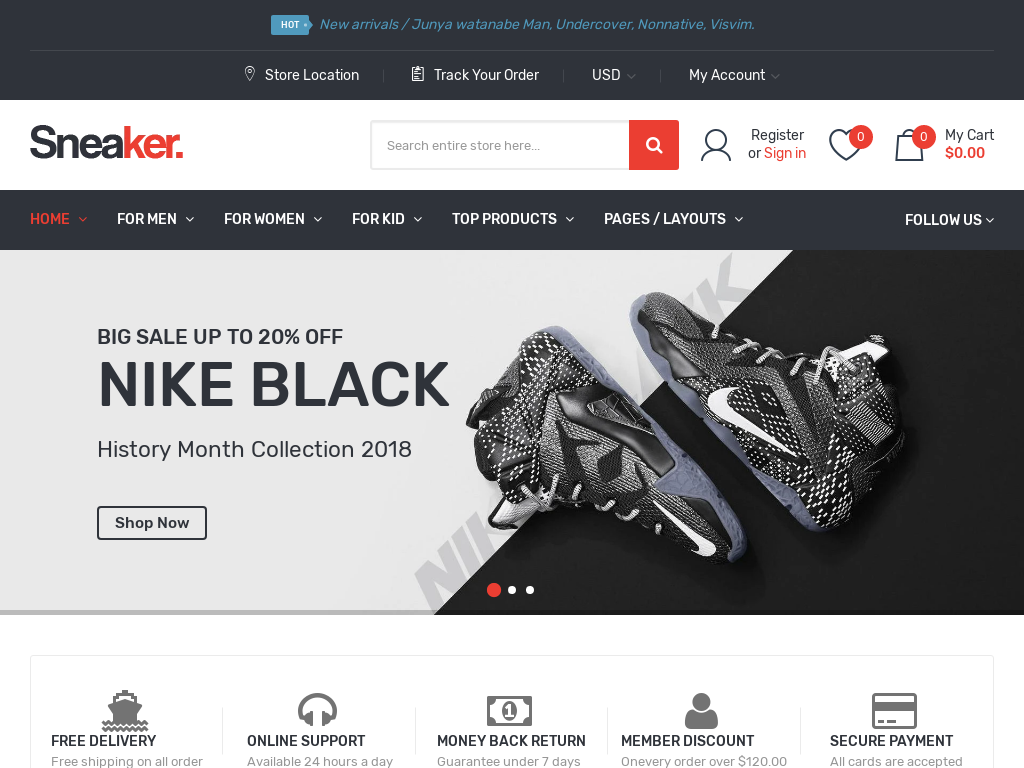 Sneakers Shopify Starter Dropship Ecommerce Website