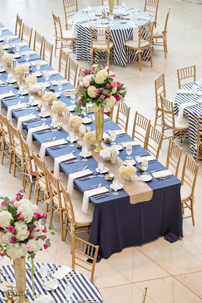Navy, pink and gold wedding decor