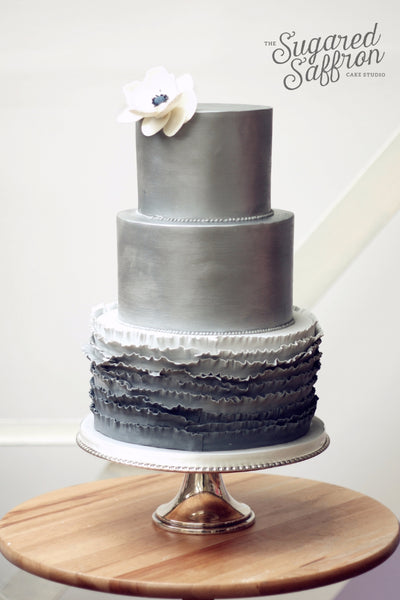 Gray silver wedding cake