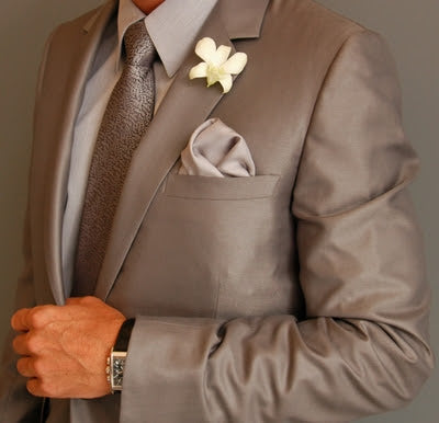 Warm taupe suit for the groom