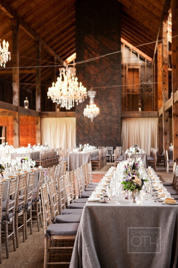 Gray wedding reception decor