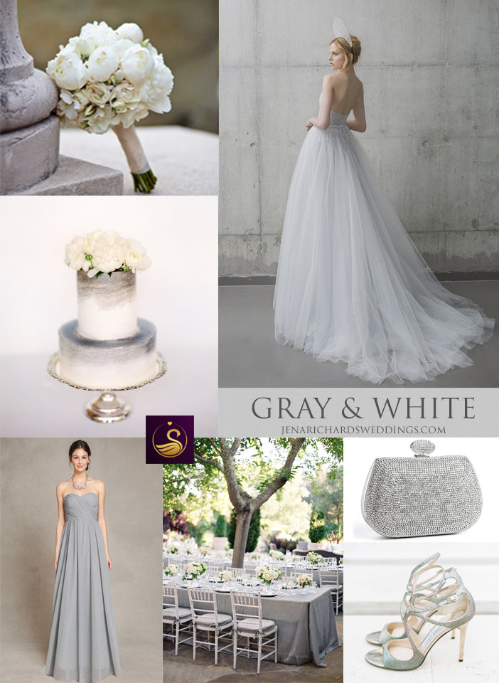 Gray and white wedding inspiration and ideas