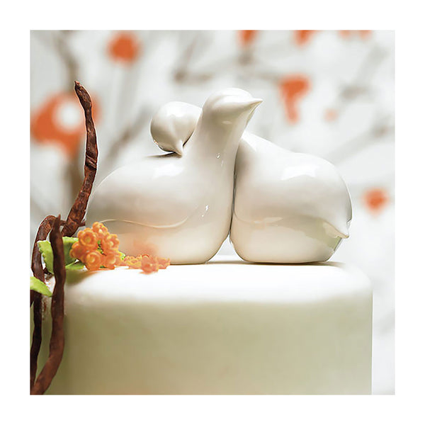 Porcelai love birds cake topper