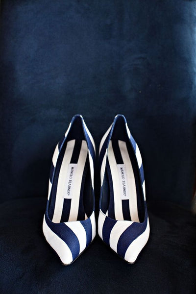 Navy striped heels