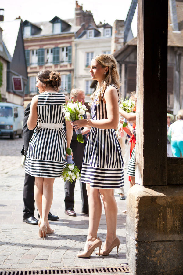 Bridesmaids in black and white striped dress