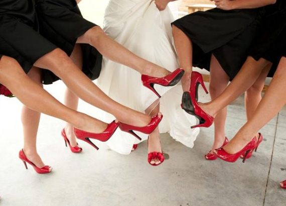 Red heels for the bridal party