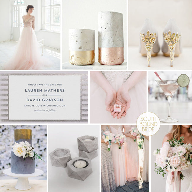 Rose quartz, gold and concrete wedding inspiration