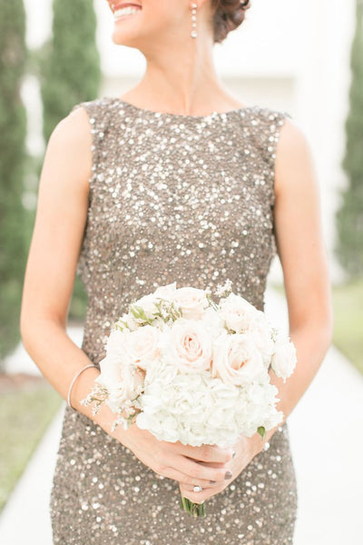 bridesmaid in taupe sparkly dress