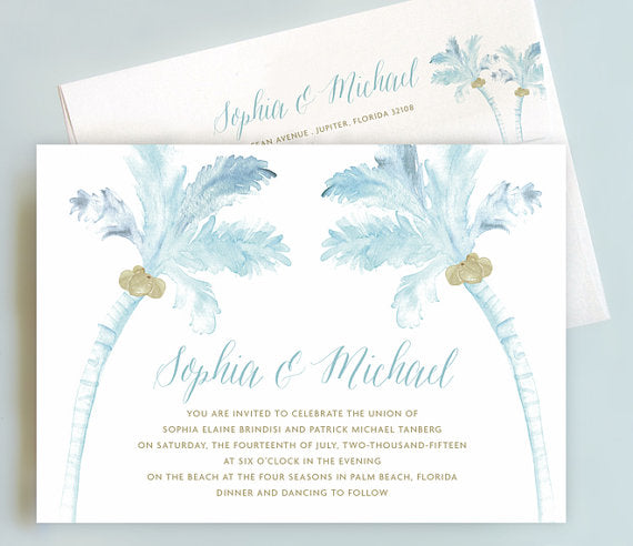 Wedding invitation suite with palm trees