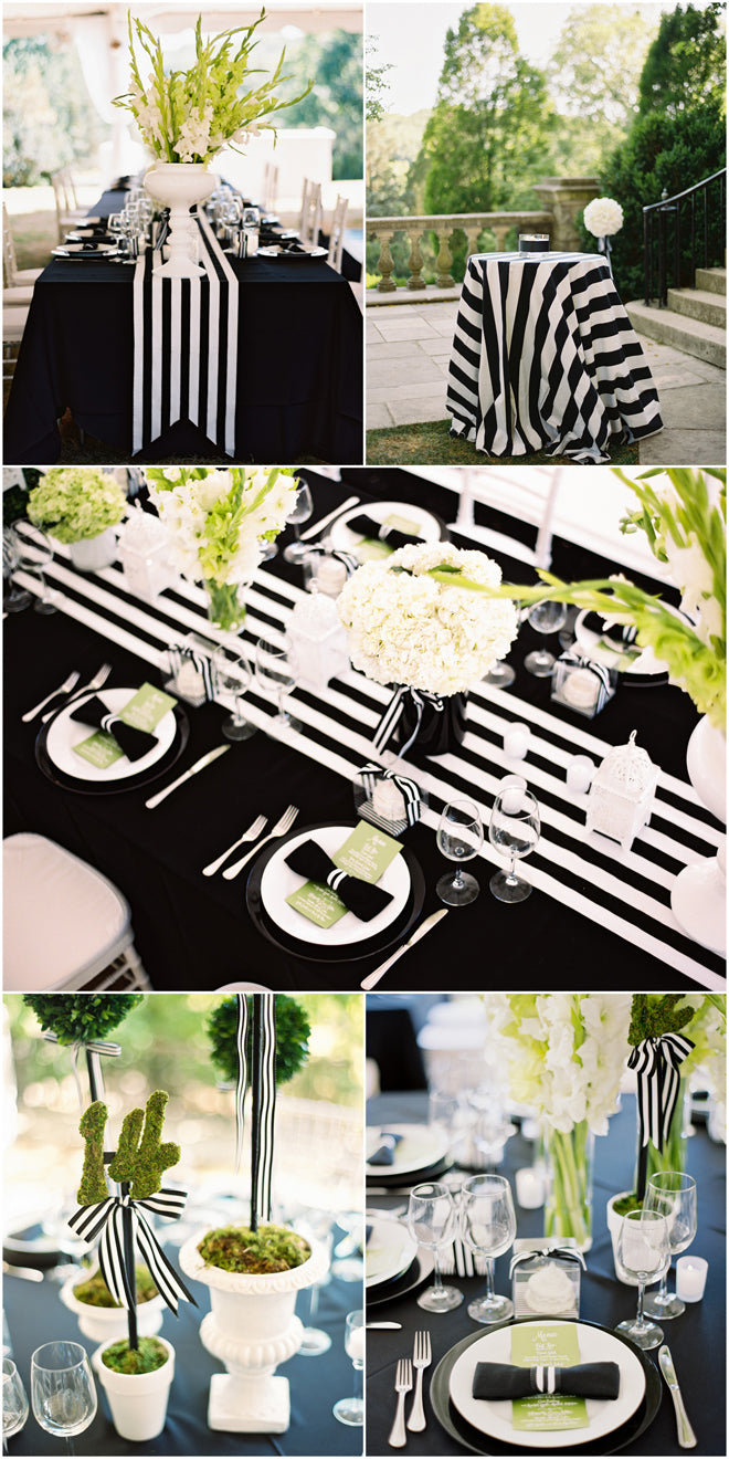 Black and white striped table ideas