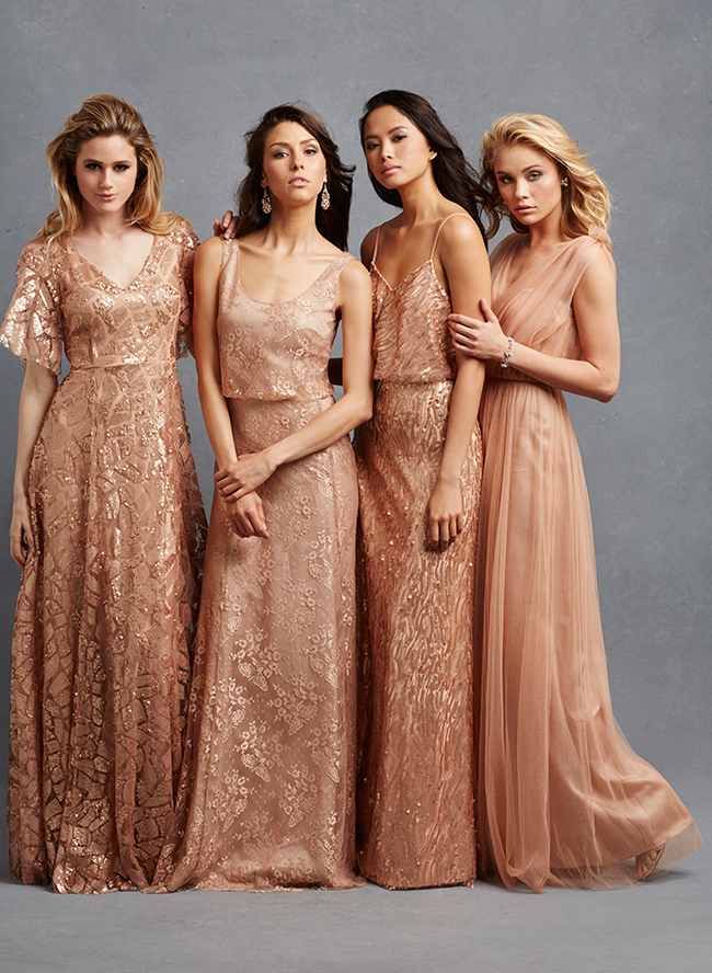 Bridesmaids in copper gowns