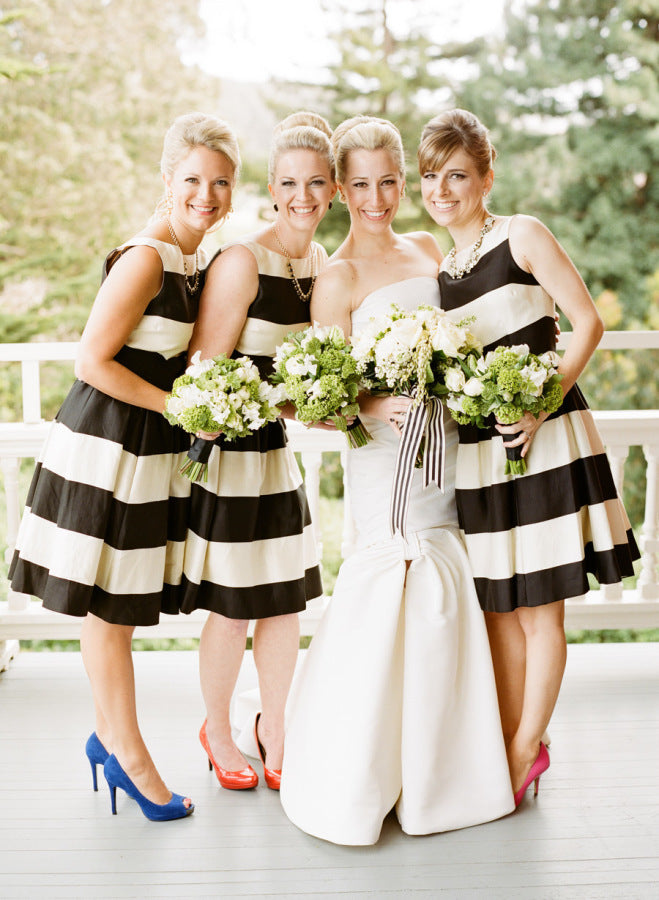 Bridesmaids in striped dresses
