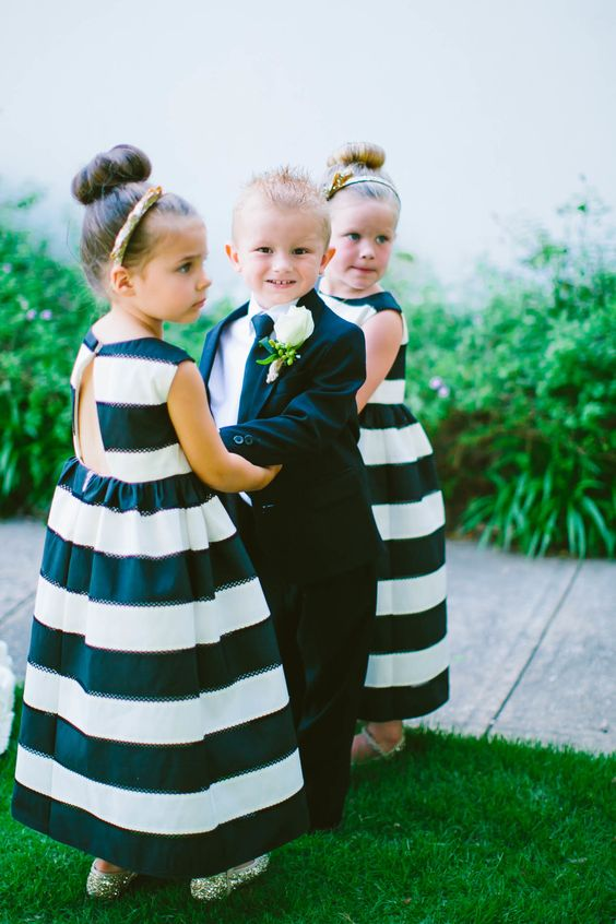 Flower girls in striped dresses