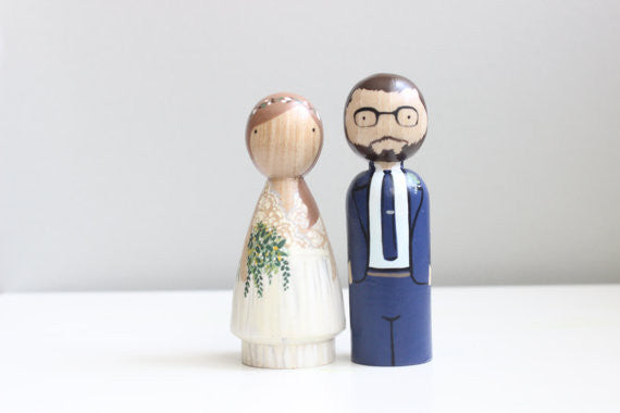Wooden couple cake topper