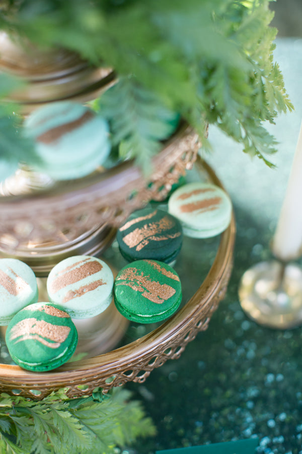 Green and gold macaroons
