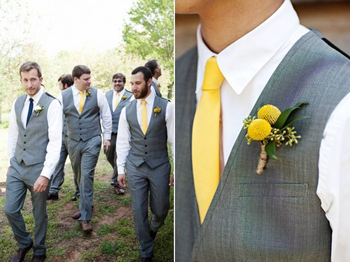 Gray and yellow ideas for the groom and his men