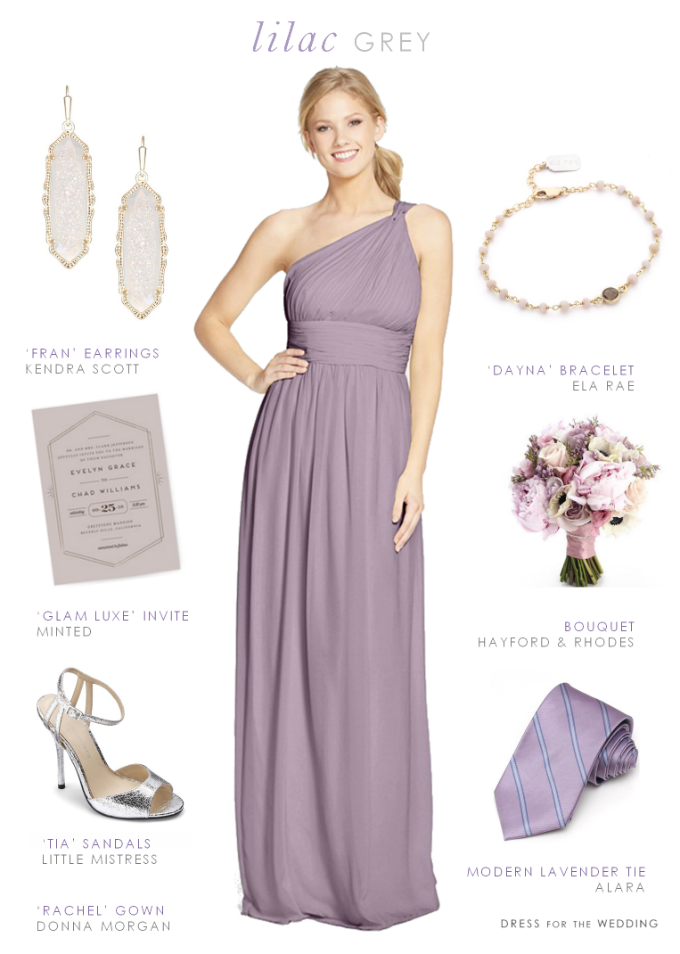 Bridesmaid gown and accessory ideas in Lilac Gray