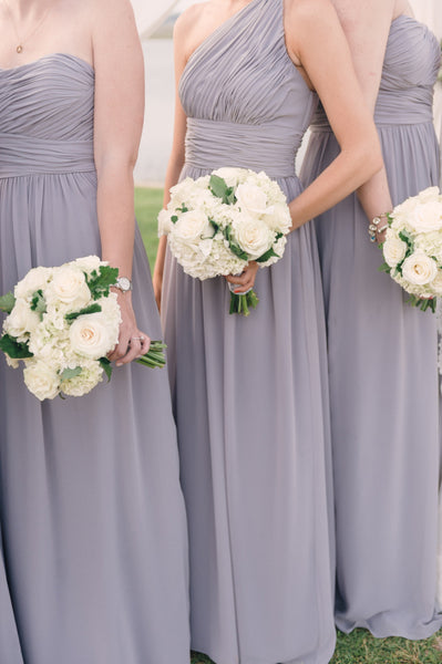 Bridesmaids in Lilac Gray gowns via
