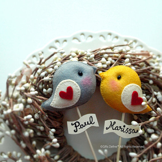 Love bird cake toppers in felt