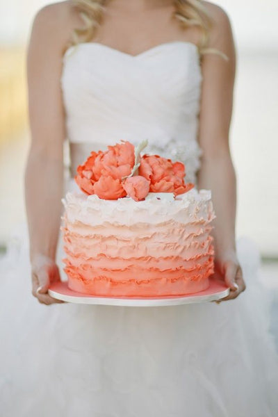 Peach ombre wedding cake