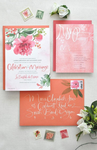 Peach and pink invitation suite