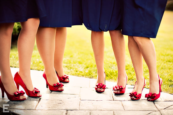 Red peep toes for the bridesmaids