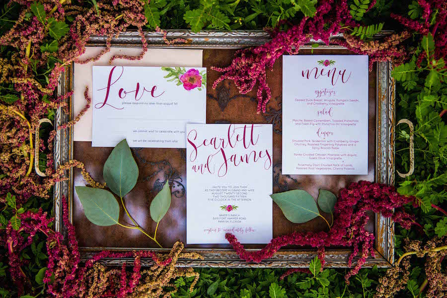 Red wedding invitation suite