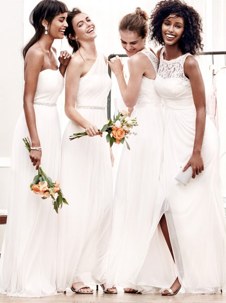 bridesmaids in white gown