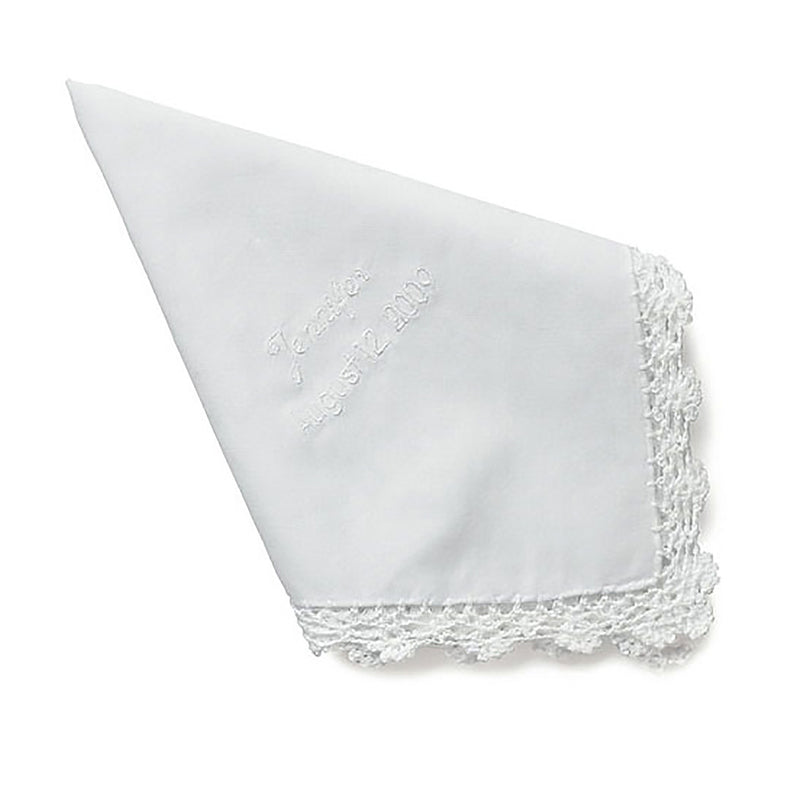 Embroidered white wedding handkerchief personalized