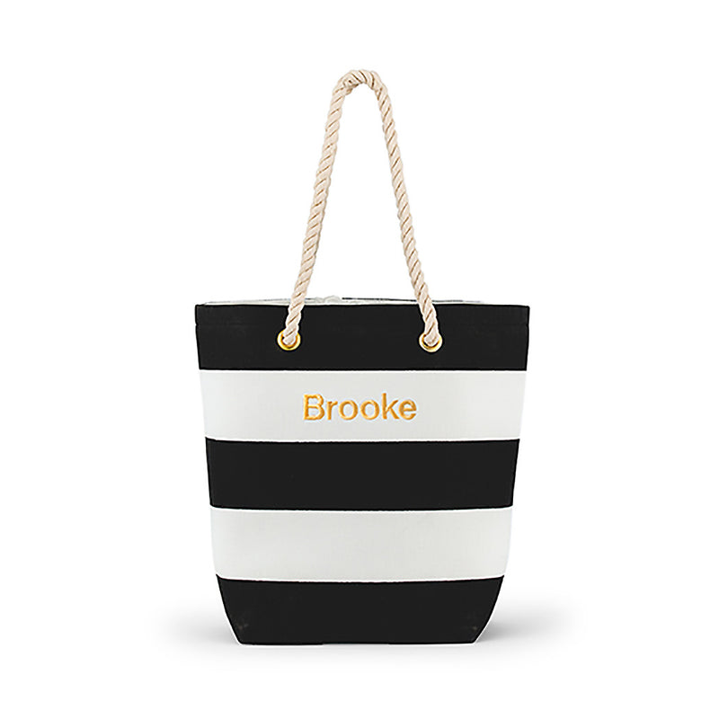 Black and white tripe tote bag, may be personalized