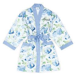 Blue floral watercolor robe on blue