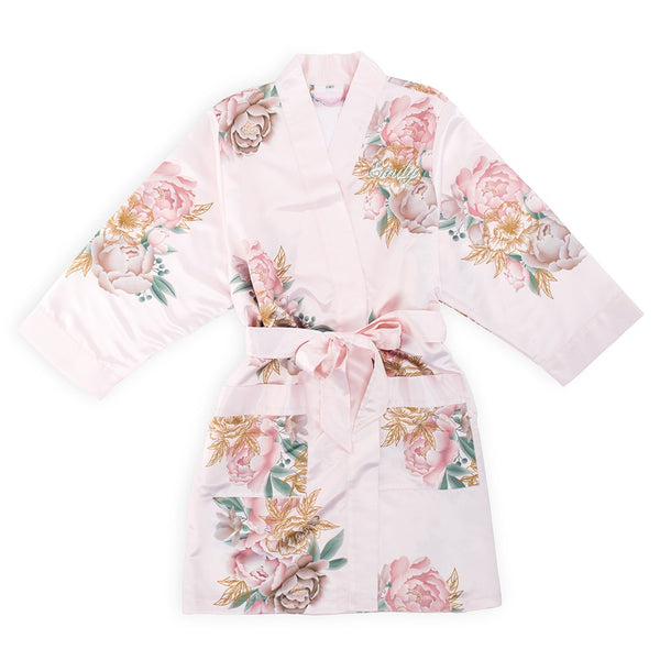 Soft Pink Silky Floral Robe