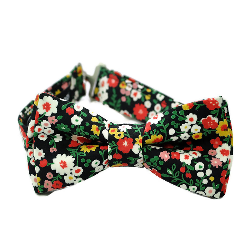 Black Floral Bow Tie for Boys and Men