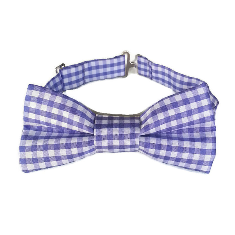 Purple and white check silk bow tie for boys