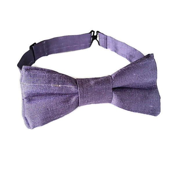 Purple silk bow tie for toddlers, boys and men