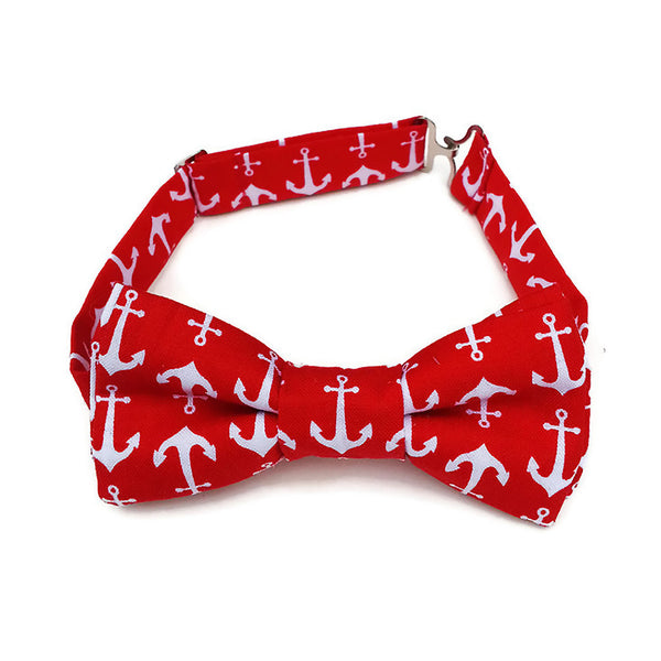 Red bow tie with white anchor print