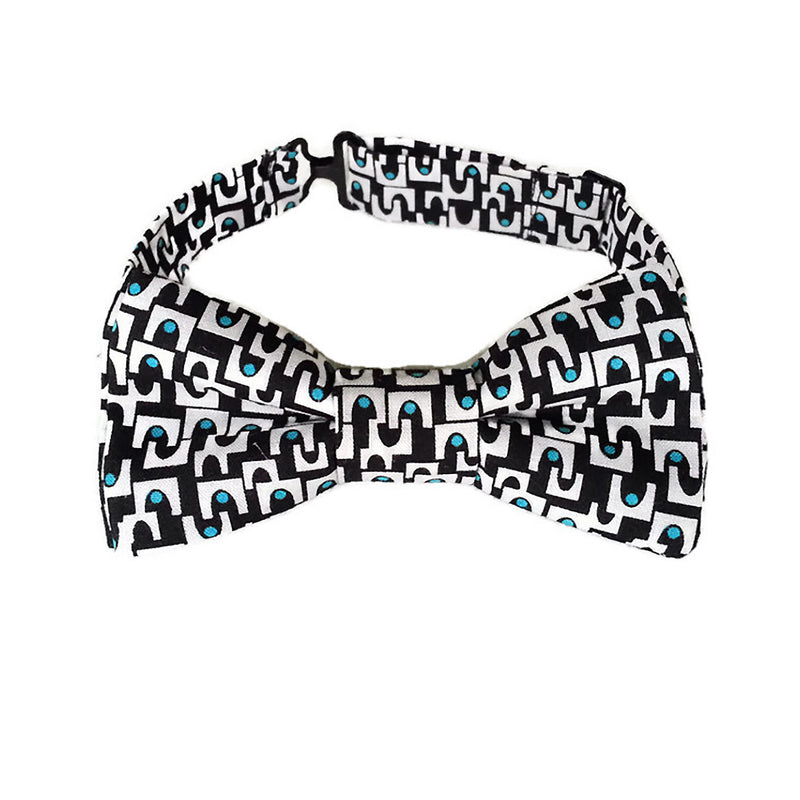 Black, white and teal organic cotton boys bow tie