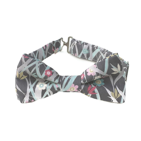 Gray print bow tie in Liberty of London cotton